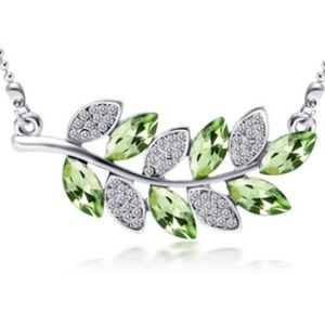 Crystal Leaf Necklace Green and Clear